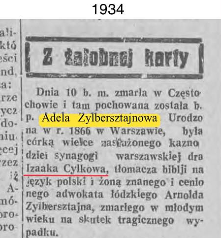 1934 obituary for Adela Zylbersztain pointing to Izaak Cylkow - her father.